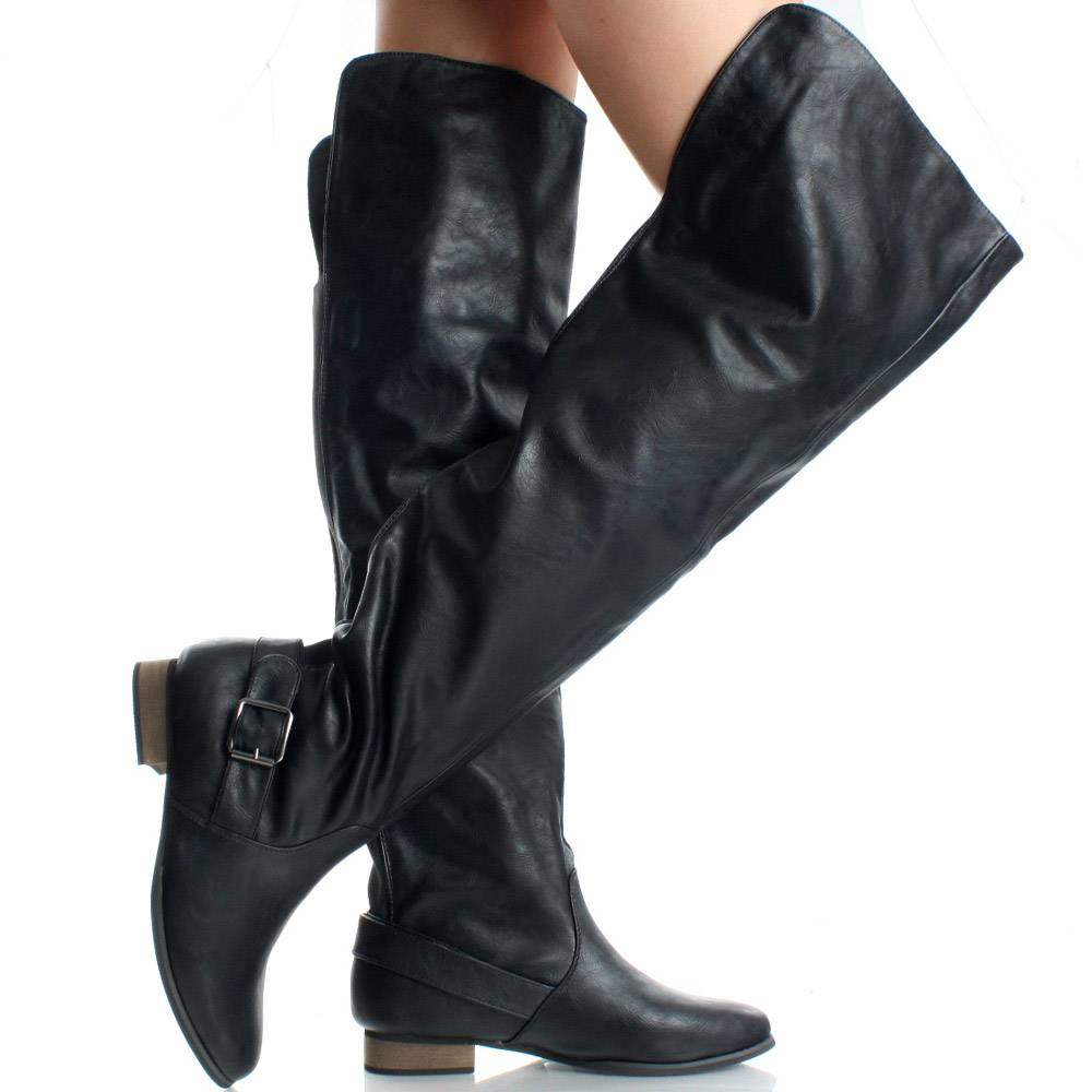 Thigh High Boots Riding Over The Knee Motorcycle Flat Womens | 53100