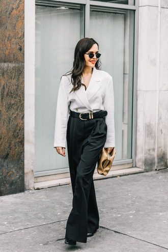 pants black pants belt blazer white blazer sunglasses bag wide-leg pants streetstyle