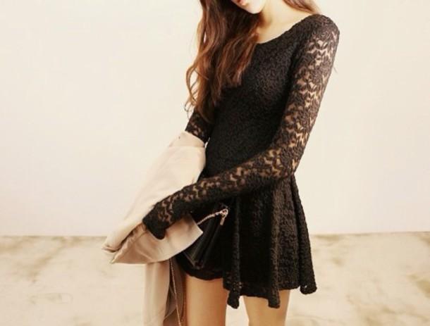 Dress Romantic Dress Little Black Dress Black Lace Dress