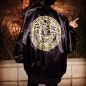 jacket,vegeta,versace,dragon ball z,hat,soft ghetto,goku,vagetta,black,gold,madusa,black dress,baseball jacket