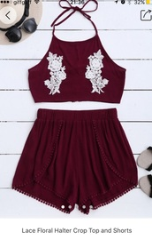 top,dark red with lace