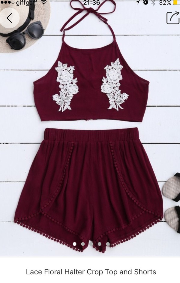 top dark red with lace