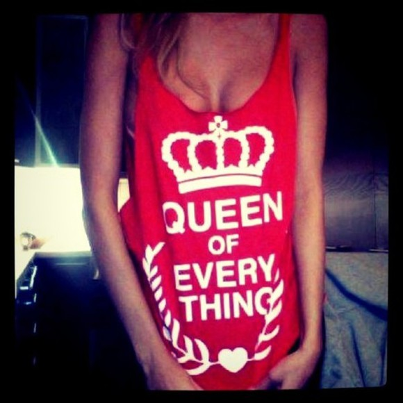 queen tank top red queen of everything quote on it