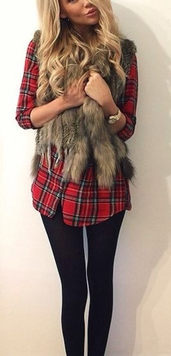 jacket fur vest plaid shirt fur flannel fall outfits red flannel shirt