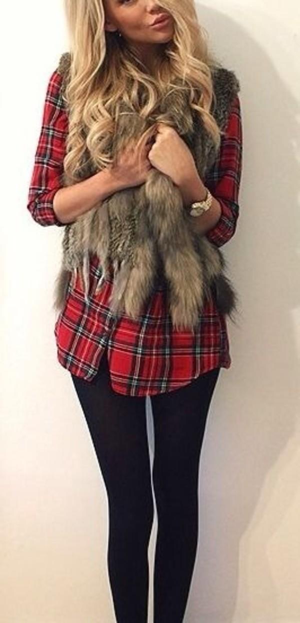 jacket fur vest plaid shirt fur flannel fall outfits red flannel shirt