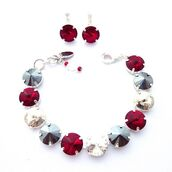 jewels,siggy jewelry,swarovski,bracelets,red,silver,metallic,fabulous,bling,chic,style,trendy,for new years eve,new years eve outfit,holiday jewelry,sparkle,pizzazz,fashionista,etsy,etsy shop,gifts for her,valentines day gift idea,gift ideas,fashion jewelry