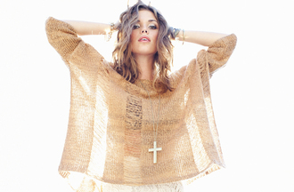 sweater nastygal crosses cross jewelry knitted sweater tan sweater stacked jewelry silver jewelry boho jewels
