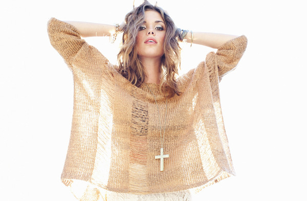 sweater nastygal nastygal crosses cross jewelry knitted sweater tan sweater stacked jewelry silver jewelry boho jewels