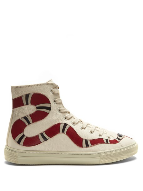 gucci top snake high leather white red