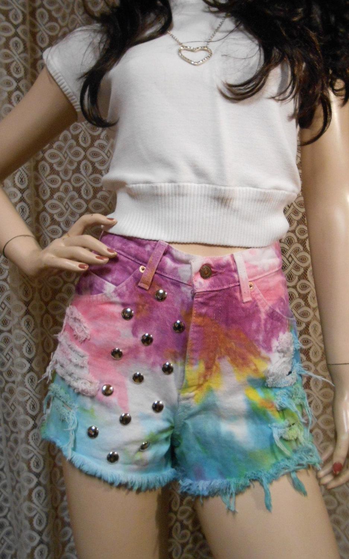 Sale....... vintage levis high waisted tie dyed denim shorts