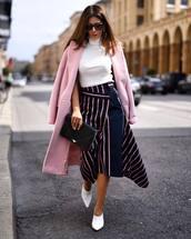 skirt,striped skirt,asymmetrical skirt,high waisted skirt,mules,turtleneck,coat,clutch,sunglasses,earrings