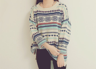 sweater jumper pullover aztec sweater mint white