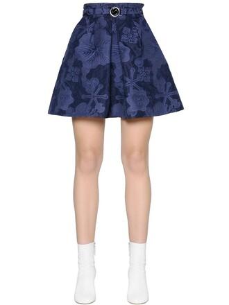 skirt high jacquard floral blue