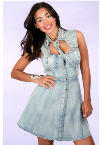 ReadyTwoMingle — Denim Studded Skater Dress