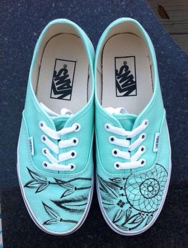 shoes vans blue vans dreamcatcher teal dreamcatcher dream catcher vans of the wall mint green shoes pastel trainers cool vans blue girl summer light love light blue streetstyle