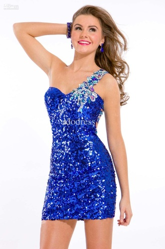 dress blue sparkle one shoulder