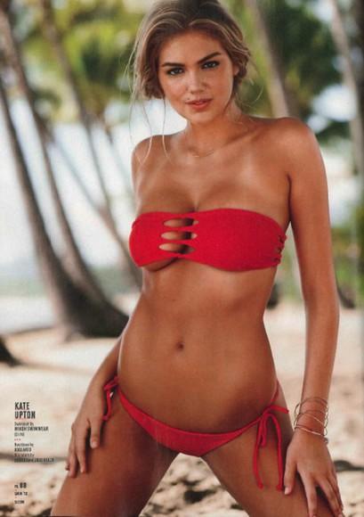 swimwear red swimwear red swimsuit bikini bottoms bikini red kate upton red bikini cut-out cut out bikini cut out bikini top bikini top model summer beach wear beach