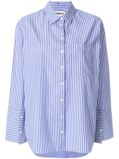 ESSENTIEL ANTWERP shirt striped shirt loose women fit cotton blue top
