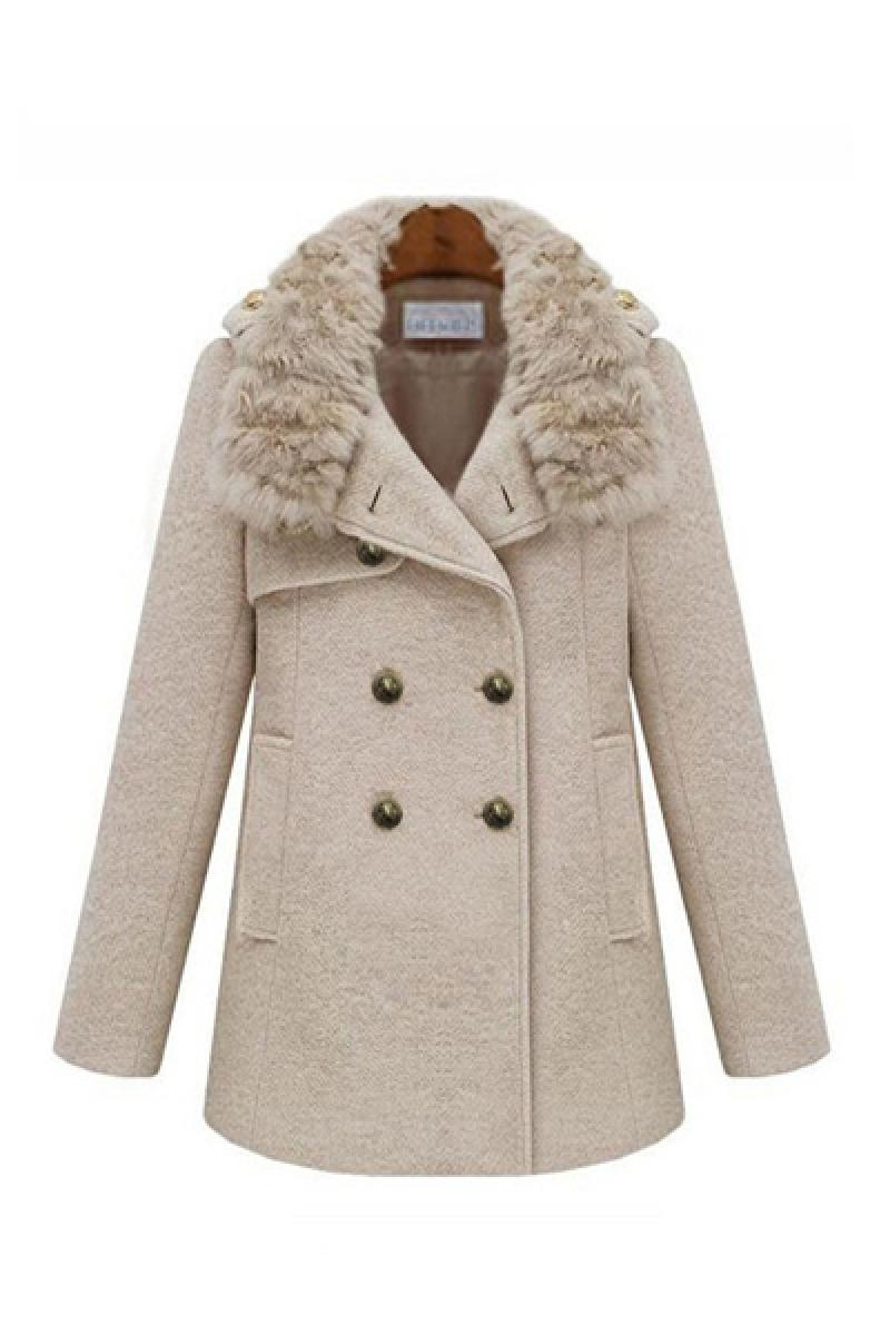Autumn Thickened Rabbit Fur Collar Woolen Overcoat,Cheap in Wendybox.com