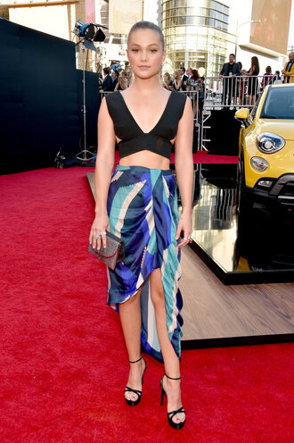 skirt top asymmetrical crop tops sandals olivia holt red carpet amas 2015