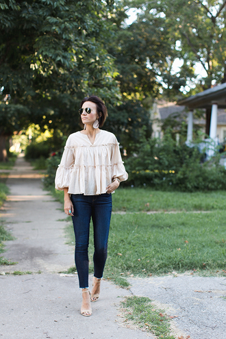one little momma blogger top jeans shoes jewels sunglasses skinny jeans sandals high heel sandals blouse