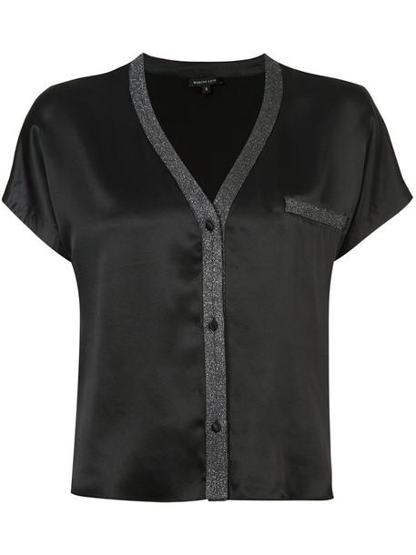 MORGAN LANE top women black silk