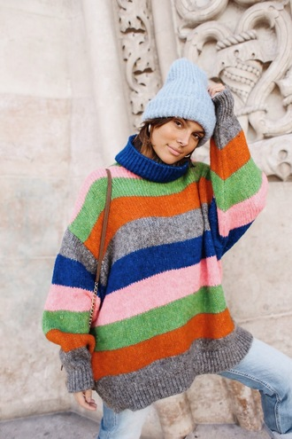 sweater tumblr stripes striped sweater knit knitwear knitted sweater zara beanie multicolor