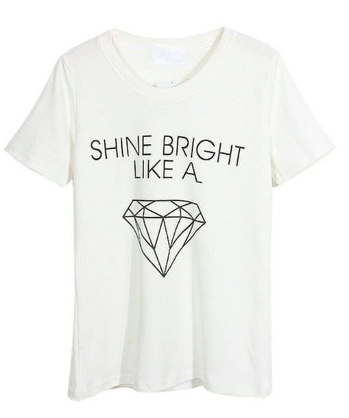 t-shirt diamonds quote on it quote on it white rihanna quote on it