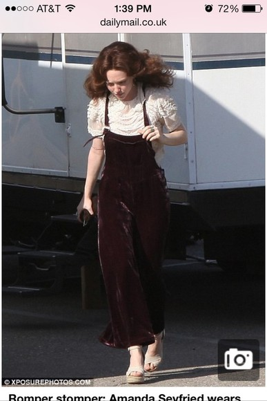 amanda seyfried pants velvet overalls bell bottoms