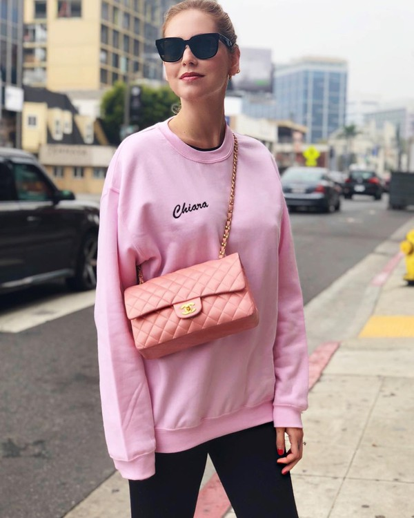 sweater pink sweater bag pink bag sunglasses chanel chiara ferragni chanel bag