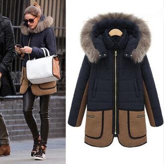 coat winter coat camel navy fur olivia palermo
