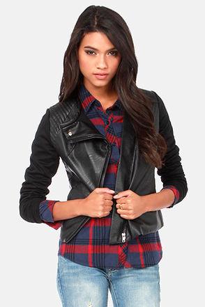 Cute Black Jacket - Moto Jacket - Vegan Leather Jacket - $63.00