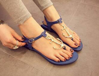 shoes sandals anchor blue and gold