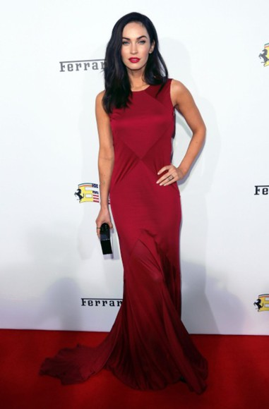 megan fox red dress red maxi dress bag jewels