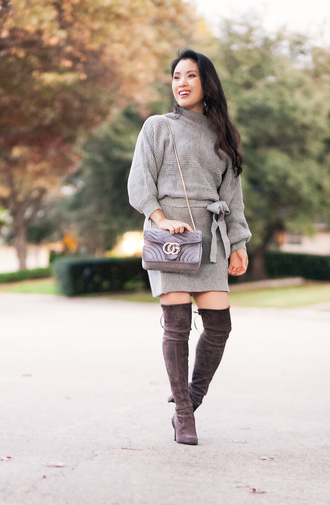 cute & little blogger skirt coat top shoes bag shirt gucci bag boots over the knee boots sweater grey sweater winter outfits fall outfits