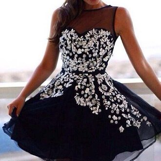 dress black dress hollow out dress mesh embroidery floral