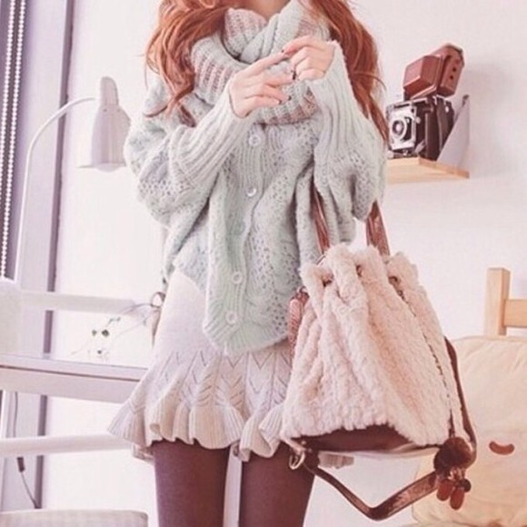 mint chunky heavy knitwear button up batwing korean bag