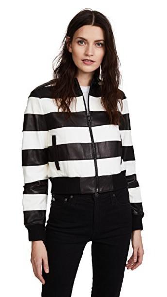 alice + olivia jacket leather jacket leather white black