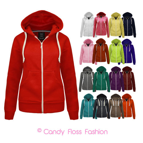 NEW WOMENS LADIES PLAIN ZIP HOODIE SWEATSHIRT FLEECE HOODED JACKET SIZES 6-14 | Amazing Shoes UK