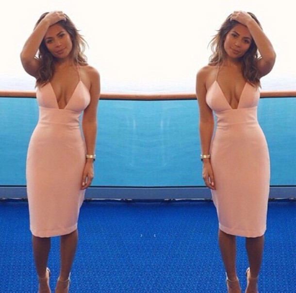 Fashion hot elegant pink sexy dress