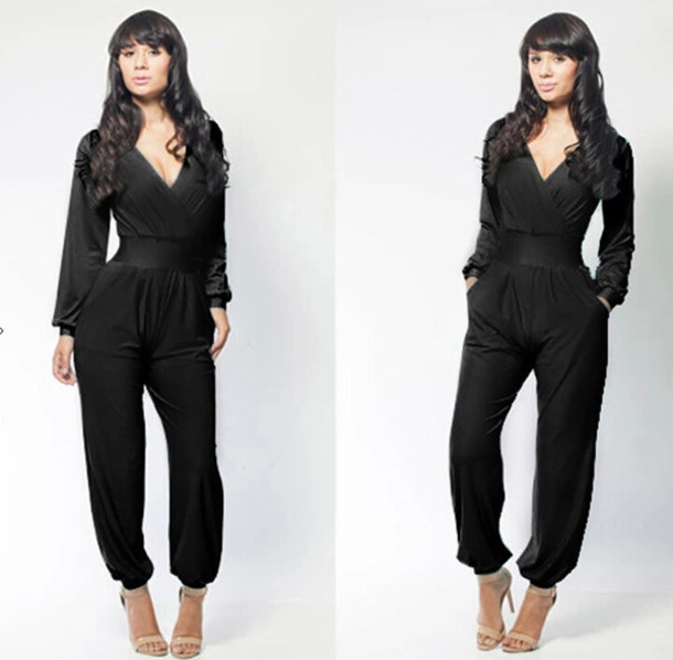 8168c1acb5d7 sexy jumpsuit plunge v neck long sleeves jumpsuit women jumpsuit black  jumpsuit red jumpsuit jumpsuit dress