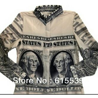 blouse money dollar dollars chiffon button up blouse women