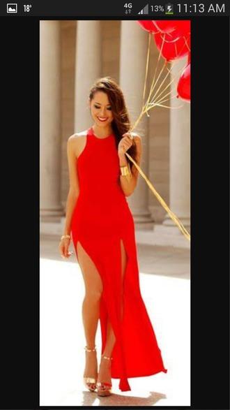 dress red slit maxi