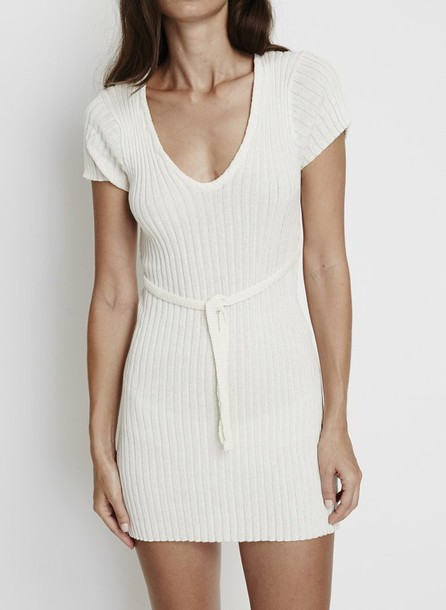 47621d68b84 dress knitted dress knitwear white summer spring love pretty classic simple  et chic chic elegant outfit