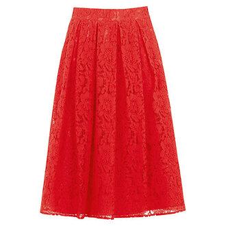 skirt lace skirt red skirt midi skirt