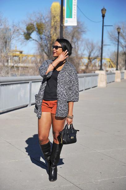the lipstick giraffe blogger sweater shorts shirt shoes sunglasses bag