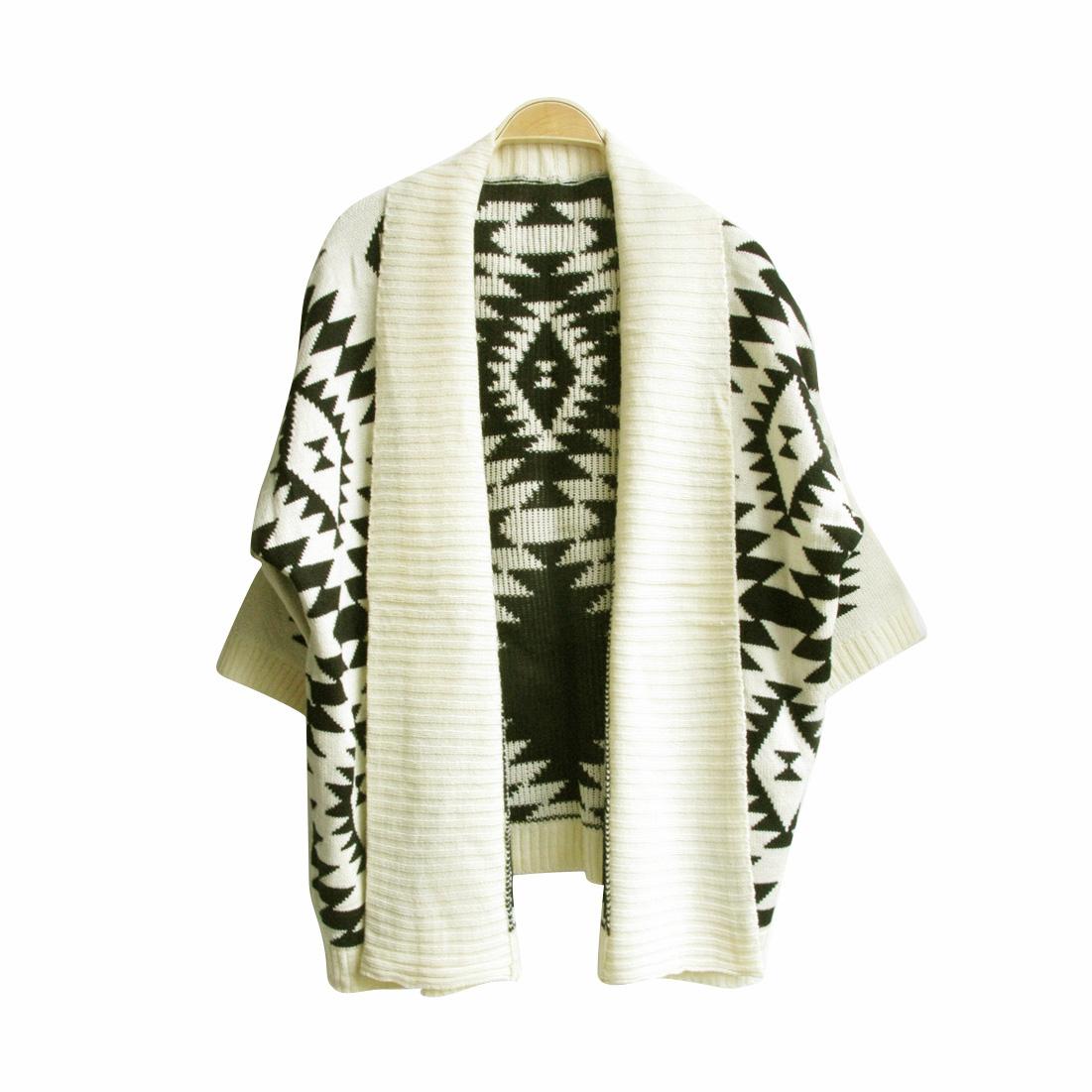Womens Aztec Open Front Wrap Cape Sweater Jacket Cardigan Loose Oversized Coat   eBay