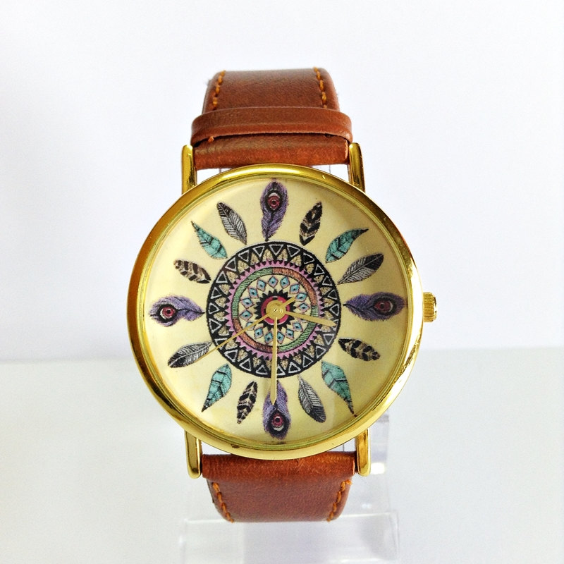 Original Freeforme Dream Catcher Watch, Vintage Style Leather Watch, Women Watches, Unisex Watch, Boyfriend Watch, Tan