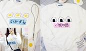 sweater,hoodie,white,blue,yellow,egg,japan,japanese,asia,asian,cute,kawaii,hipster,pastel goth,pastel,harajuku