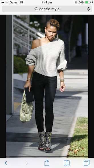 sweater grey cassie ventura off the shoulder sweater wool sweater pants jeggings red lime sunday